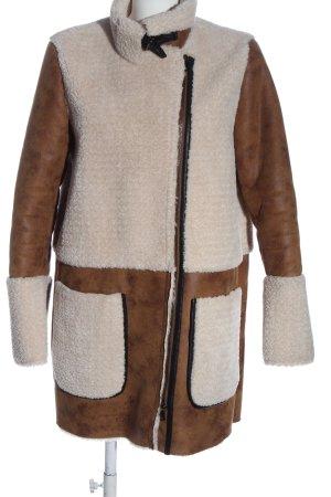 Esprit Veste longue brun-blanc cassé style décontracté