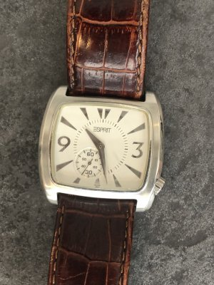 Esprit Watch With Leather Strap silver-colored-brown