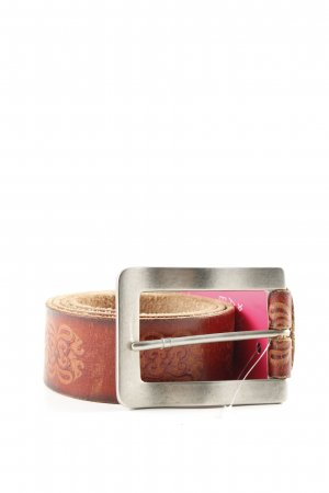 Esprit Leather Belt brown abstract pattern business style
