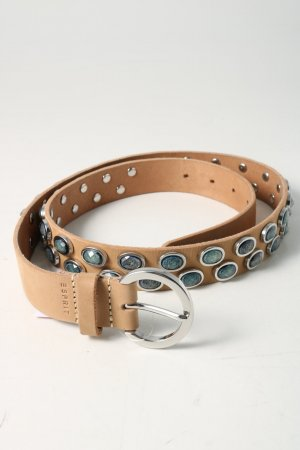 Esprit Leather Belt natural white-light grey graphic pattern casual look