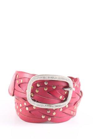 Esprit Cintura di pelle rosa-argento stile casual