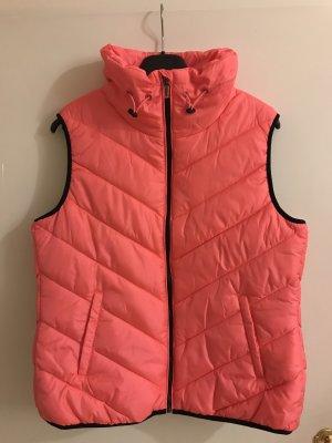 Esprit Leichte Steppweste Stehbund pink rosa neon berry red 42 XL gefüttert Neu