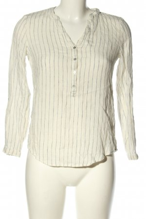 Esprit Linen Blouse natural white-light grey striped pattern business style