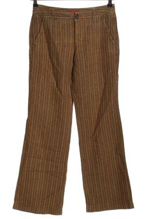 Esprit Pantalón de lino marrón estampado a rayas look casual