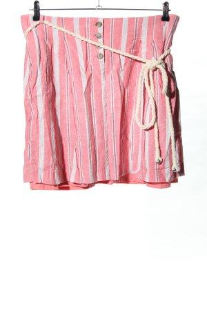Esprit Falda de lino rosa-crema estampado a rayas look casual