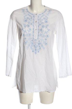 Esprit Long-Bluse weiß-blau Blumenmuster Casual-Look