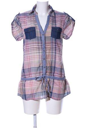 Esprit Long-Bluse blau-pink Karomuster Casual-Look