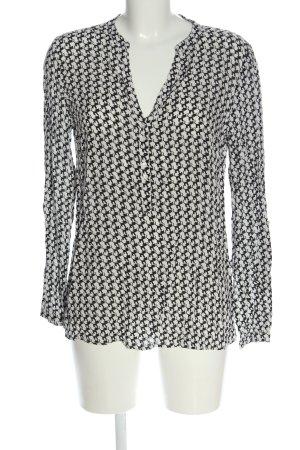 Esprit Long-Bluse weiß-schwarz Allover-Druck Casual-Look
