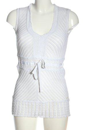Esprit Long-Bluse weiß Webmuster Casual-Look