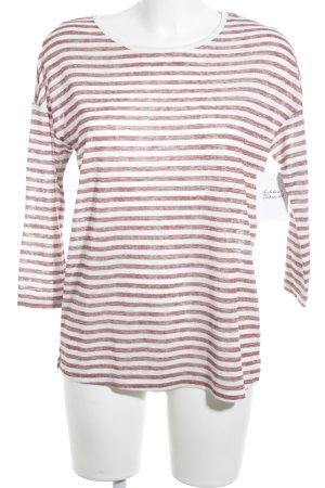 Esprit Longshirt weiß-dunkelrot Streifenmuster Casual-Look