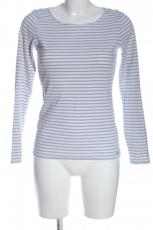 Esprit Koszulka z długim rękawem biały-jasnoszary Wzór w paski