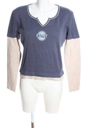 Esprit Longsleeve blau-creme Motivdruck Casual-Look