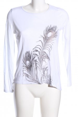 Esprit Longsleeve weiß-schwarz Motivdruck Casual-Look