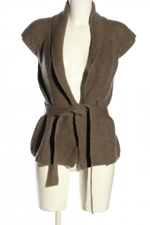 Esprit Long Knitted Vest brown weave pattern casual look