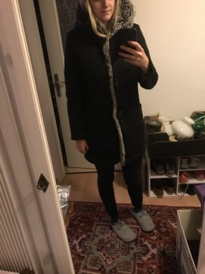 Esprit Cappotto con cappuccio nero-grigio