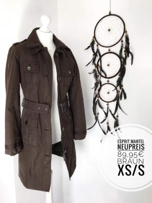 Esprit Mantel braun blogger vintage Mode NP 89€ boho günstig Trenchcoat