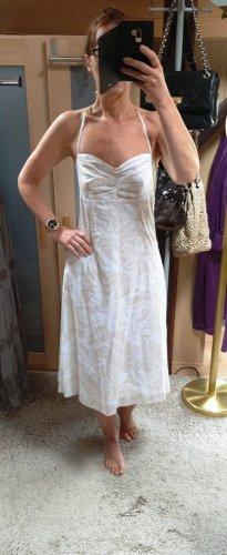 Esprit Midi Kleid Sommerkleid Schulterfrei Neckholder beige-weiß 36