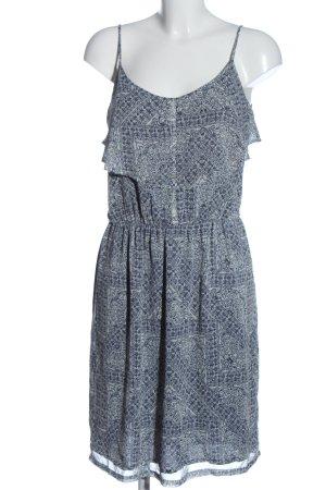 Esprit Midikleid blau-weiß abstraktes Muster Casual-Look