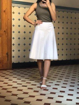 Esprit Falda midi blanco tejido mezclado