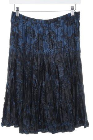 Esprit Midirock schwarz-blau Blumenmuster Casual-Look