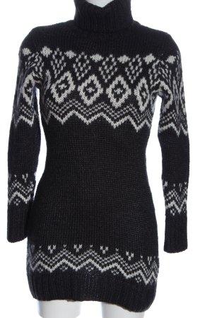Esprit Długi sweter czarny-biały Graficzny wzór W stylu casual