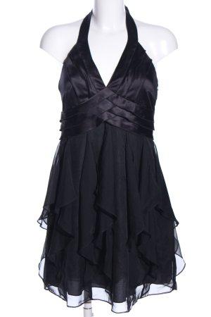 Esprit Neckholderkleid schwarz Glanz-Optik