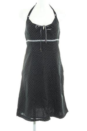 Esprit Neckholderkleid schwarz Punktemuster Perlenverzierung