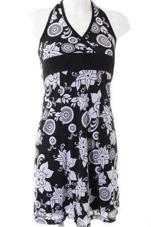 Esprit Neckholderkleid schwarz-weiß Blumenmuster Casual-Look