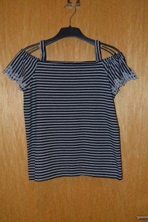 Esprit Offshoulder Shirt blau/weiß Gr. M