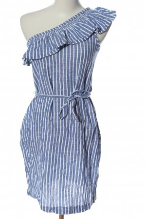 Esprit Vestido de un hombro azul-blanco estampado a rayas look casual