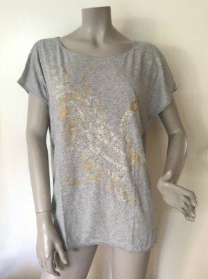 Esprit oversize Shirt grau mit gold glitzerndem Print und kleinen Nieten Baumwolle Gr. L