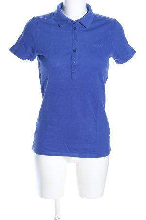 Esprit Polo-Shirt blau Schriftzug gestickt Casual-Look