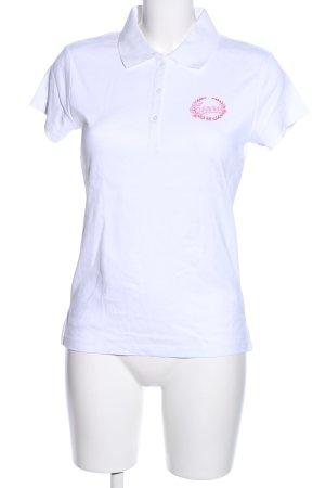 Esprit Polo-Shirt weiß-pink Motivdruck Casual-Look