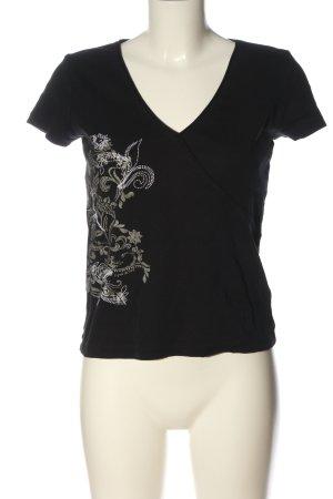 Esprit Print-Shirt schwarz-hellgrau Motivdruck Casual-Look