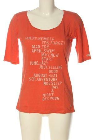 Esprit Print Shirt light orange printed lettering casual look