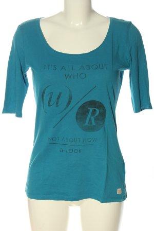 Esprit Print Shirt blue printed lettering casual look
