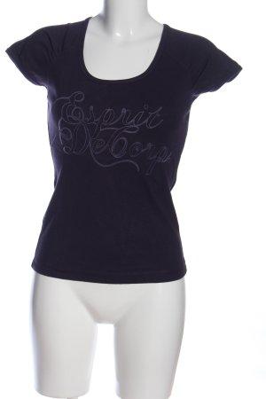 Esprit Print-Shirt blau-lila Schriftzug gedruckt Casual-Look