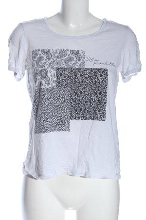 Esprit Print-Shirt weiß-schwarz Blumenmuster Casual-Look