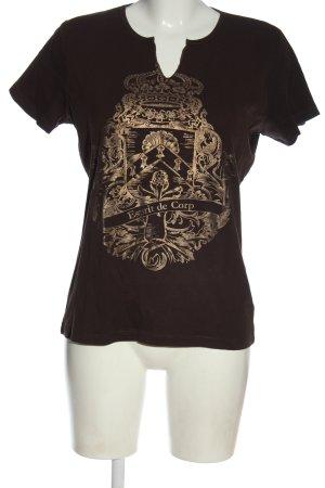 Esprit Print-Shirt braun-goldfarben Motivdruck Casual-Look
