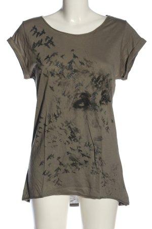 Esprit Print-Shirt khaki-schwarz Motivdruck Casual-Look