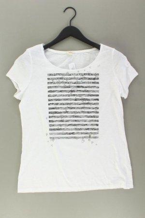 Esprit Printshirt Größe L Kurzarm weiß aus Baumwolle