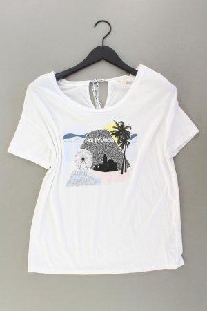 Esprit Printshirt Größe M Kurzarm weiß aus Baumwolle