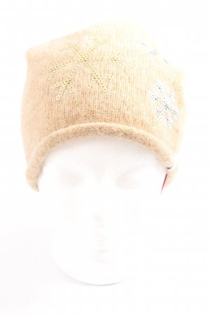 Esprit Knitted Hat cream themed print casual look