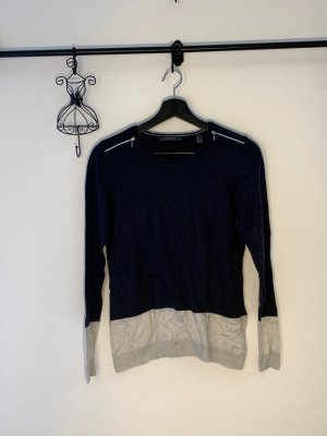 Esprit Crochet Sweater dark blue-natural white