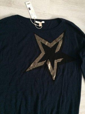 Esprit Pullover blau mit Pailletten Stern Gr.M Neu