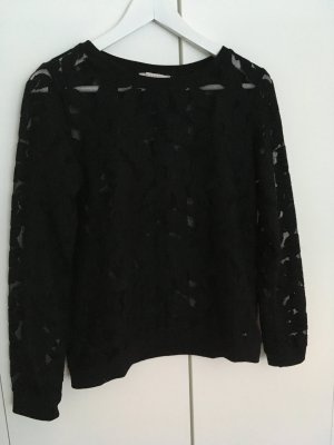 Esprit Pullover, Blütendesign, teilweise transparent, schwarz, Gr. 36