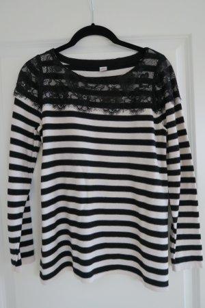 Esprit Pullover mit klassischen Streifen und edler Spitze
