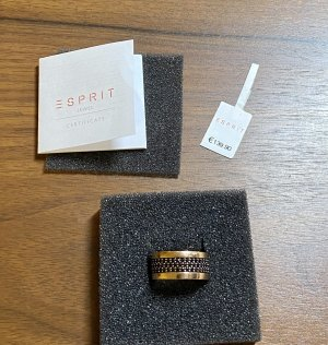 Esprit Ring with Decorative Stone black-rose-gold-coloured