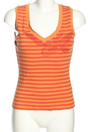 Esprit Maglietta a righe arancione chiaro-rosso Stampa a tema stile casual