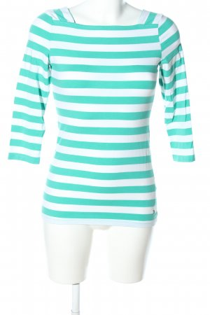 Esprit Stripe Shirt turquoise-white striped pattern casual look